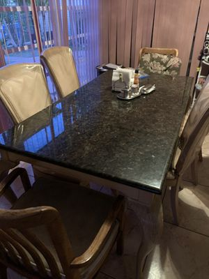 Granite Table Top With 5 Matching Chairs OBO NEED GONE for Sale in Medley, FL
