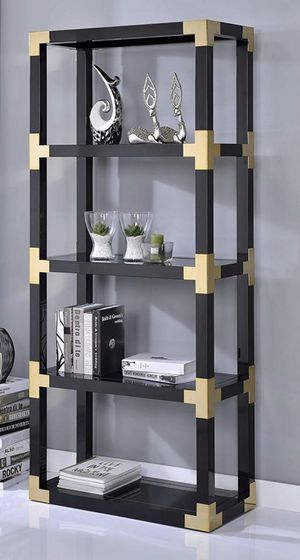 Acme Lafty Etagere Bookshelf, Gold and Black High Gloss Mirror for Sale in Peoria, AZ
