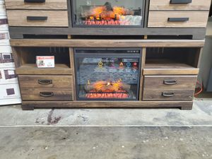 Fireplace TV Stand with Fireplace Insert, Brown for Sale in Westminster, CA