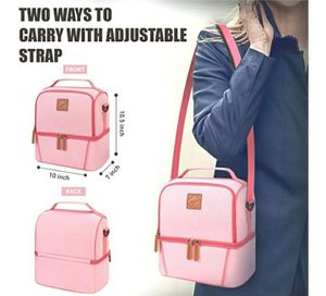 ELVIRA INSULATED DUAL COMPARTMENT LEAKPROOF COOLER TOTE LUNCH BAG PINK for Sale in Los Angeles, CA