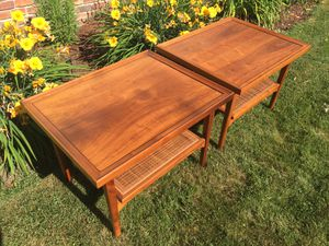 Vintage Mid Century Drexel Declaration Side / End Tables with Cane Shelf for Sale in Wenatchee, WA
