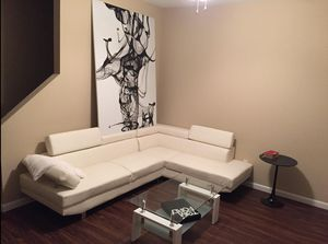 Brand New White Faux Leather Sectional Sofa Couch w/Adjustable Headrests for Sale in Chevy Chase, MD