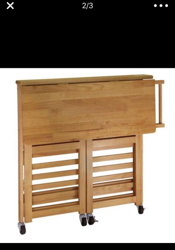 Folding Kitchen Cart with Knife Block Light oaks A8-228