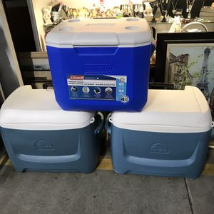 3 large coolers Coleman Igloo with wheels and handles clean excellent condition for Sale in Jacksonville, FL