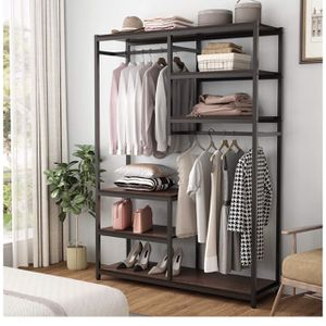 Tribesigns Free standing Closet Organizer, Double Hanging Rod Clothes Garment Racks with Storage Shelves, Heavy Duty Metal Closet Storage Clothing She for Sale in City of Industry, CA