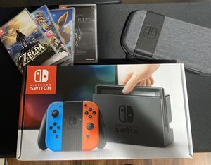 Nintendo Switch w/ 4 Games + Travel Case for Sale in Milford, MA