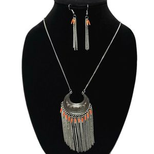 Silver Tone Tribal Crescent Tassel Chain Necklace & Earrings Set Boho for Sale in Temecula, CA