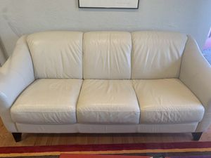 Couch. Off white leather for Sale in Golden, CO