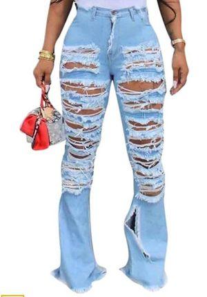 Brand new high waist ripped fringe bell bottom jeans for Sale in Denver, CO