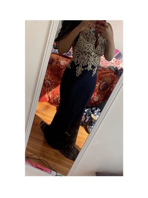 Navy blue and gold prom or formal dress for Sale in St. Louis, MO