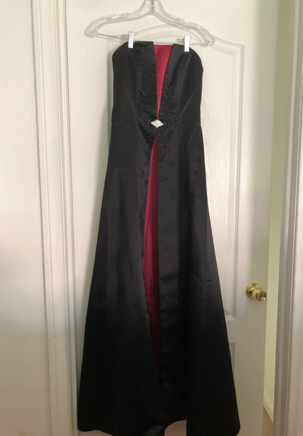 Black & Pink Strapless Formal Gown Set