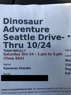 Dinosaur adventure ticket. for Sale in Stanwood, WA