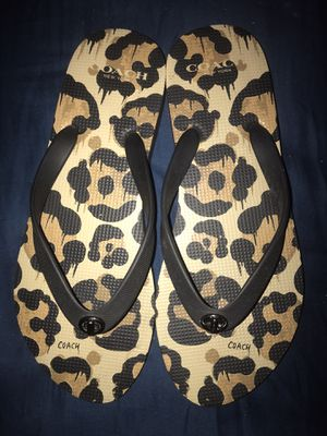 Leopard print Coach flip flops size (M) for Sale in Long Beach, CA
