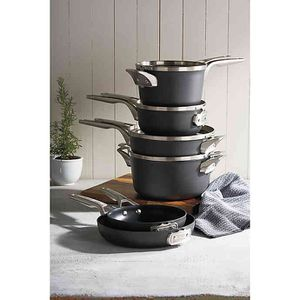 Calphalon Premier 11-piece Hard Anodized Space Saving Cookware Features: Stacks Smaller, Saves 30% More Space Stacks and Nests in Any Order 3 Layer for Sale in Arcadia, CA