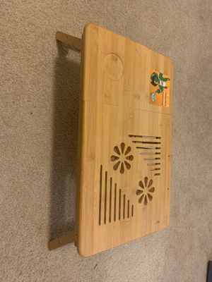 Strong bamboo study table/bed table with fan for laptop for Sale in Bethesda, MD