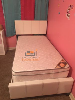 Brand New Twin Size Leather Platform Bed + Pillowtop Mattress for Sale in Wheaton-Glenmont, MD