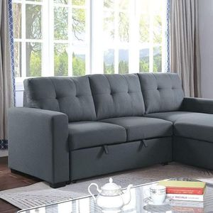 DARK GRAY FABRIC SECTION SOFA REVERSIBLE CHAISE BED / SILLON CAMA GRIS for Sale in Temecula, CA