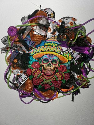 14in wwreath frame with deco mesh ribbon and Halloween ornaments for Sale in Hayward, CA