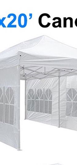 $210 (new in box) large heavy-duty 10x20ft canopy pop up tent with side walls instant shade carry bag rope stake for Sale in Whittier,  CA