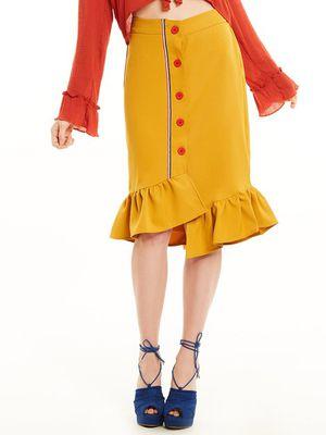 Stripe Tape Detail Button Front Frill Hem Skirt for Sale in Upper Marlboro, MD