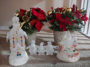 NWOB Glass LED Color Changing Christmas Village Set for Sale in Tampa, FL