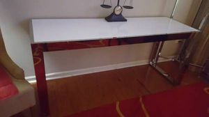 REDUCED.....SLEEK LONG 24D X 32H X 72W CHROME AND LAMINATED WHITE TOP....CAN BE USED FOR TABLE, DESK, TV STAND OR BUFFET TABLE for Sale in Elgin, IL