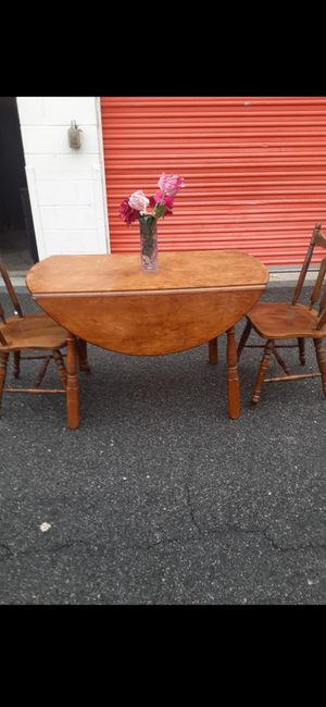 SOLID WOOD TABLE WITH TWO CHAIRS GOOD CONDITION for Sale in Fairfax, VA