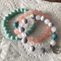 Three natural gemstone charm bracelet for Sale in Long Beach, CA