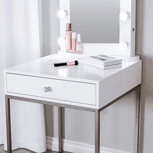 New! GlamStation Makeup Table with Mirror and LED Lights, Gold And Silver (MM) for Sale in Claremont, CA