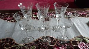 6 vintage etched cordial/ wine glasses for Sale in Kingsley, PA