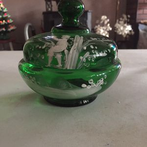 Depression Glass Green Rare Candy Dish With Lid, Handpainted for Sale in Wilkes-Barre Township, PA