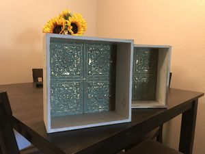 Decorative distressed white and teal wall/box shelves for Sale in Brea, CA