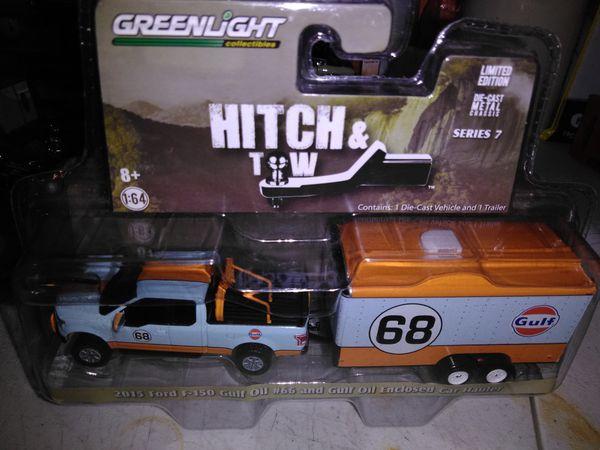 Greenlight hitch tow 15 gulf ford 4x4 #66 w/ enclosed gulf trailer