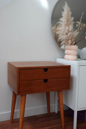 Mid century modern wood bed side table for Sale in Portland, OR