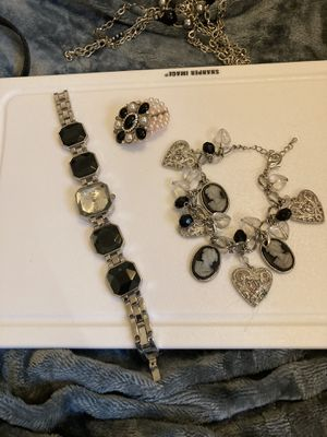 Black/Silver watch, Braclet, necklace lot for Sale in Gaston, SC
