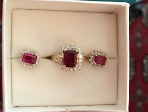 3.7 carat Ruby & diamond ring. 1.2 carat Small ruby & Diamond earrings for Sale in Los Angeles, CA