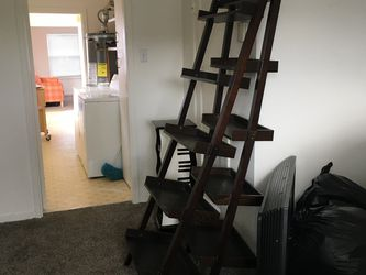 Two Matching Dark Wood Espresso Ladder Shelves for Sale in Pacifica,  CA