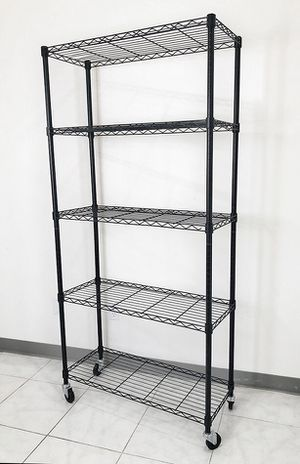 "Brand New $70 Metal 5-Shelf Shelving Storage Unit Wire Organizer Rack Adjustable w/ Wheel Casters 36x14x74"" for Sale in Downey, CA"