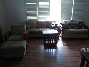 3 piece wood framed living room set with 2 end tables for Sale in Midvale, UT