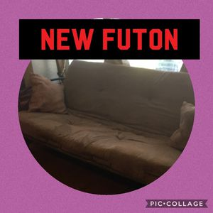 New futon with comfortable mattress tag still on the wooden frame for Sale in Grass Valley, CA
