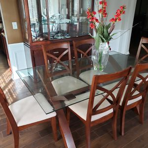 Glass Dining Table With 6 Chairs for Sale in Holly Springs, NC