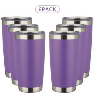 20oz Tumbler Double Wall Stainless Steel Vacuum Insulated Travel Mug with Lid, Insulated Coffee Cup Travel Mug, 1 Straws,2 brush (Purple, 6pack) for Sale in Torrance, CA