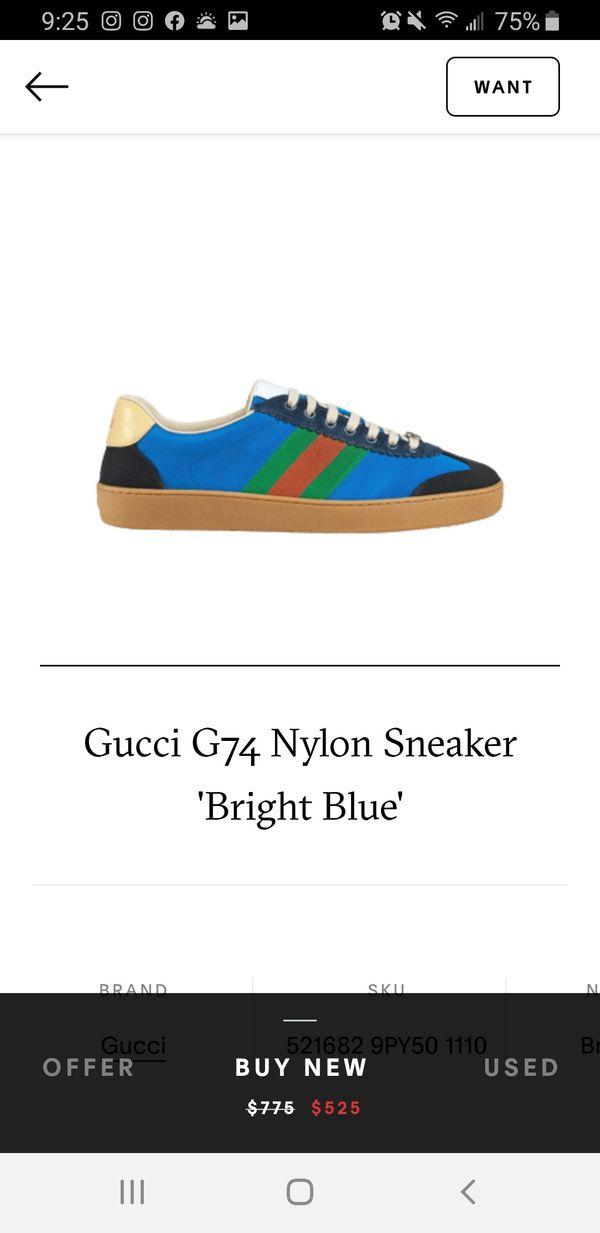 "Gucci G74 Nylon Sneaker ""Bright Blue"" Gucci Size 8 Fits 9 or 9.5 Men Firm @ $400"
