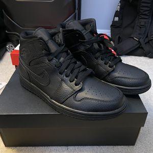 Nike Jordan 1 Mid Triple Black for Sale in Rockville, MD