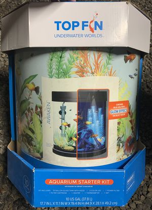 10 gallon bow front fish tank starter kit for Sale in Selinsgrove, PA
