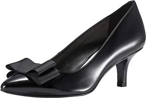 JENN ARDOR Women's Low Kitten Heel Pumps Pointed Closed Toe Slip On Bowknot Dress Party Wedding Shoes P.Black 6 M US Condition is New with box. for Sale in Vance, AL