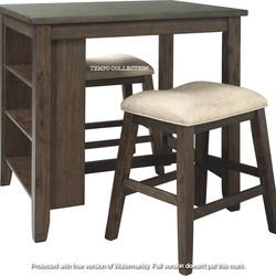 NEW, LIGHT BROWN 3 PC RECT COUNTER TABLE WITH STORAGE AND 2 STOOLS. for Sale in Ontario,  CA