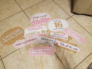 Sweet 16 photo booth props for Sale in Weston, FL
