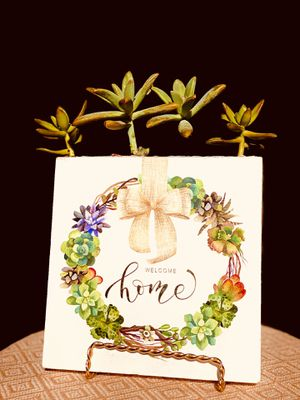Floral arrangements Welcome sign succulents wreath picture frame live succulent frame stand gold birthday gift home decor rustic decor boho decor fa for Sale in Covina, CA