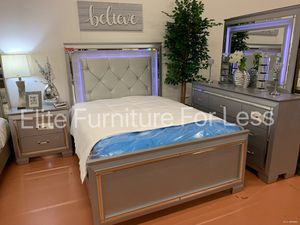 Queen 4Pc LED Silver Bedroom Set for Sale in Chula Vista, CA